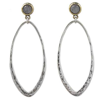 Thai Sterling Silver Gold Accent Earrings with Moonstone