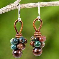 Jasper and tiger's eye dangle earrings, 'Earthy Power' - Hand Crafted Tiger's Eye and Jasper Dangle Earrings
