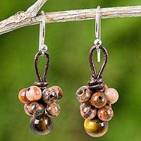 Jasper and tiger's eye dangle earrings, 'Earthy Rhythm' - Artisan Crafted Jasper and Tiger's Eye Beaded Earrings