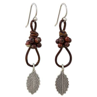 Jasper and Silver Dangle Earrings with Leaf Motif