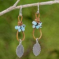 Silver, quartz, and leather dangle earrings, 'Wind Breeze in Blue' - Blue Quartz and Silver Dangle Earrings with Leaf Motif