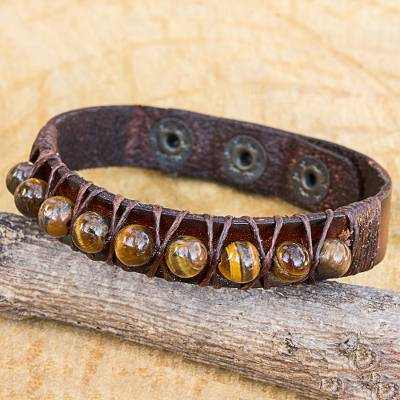Tiger's eye and leather band bracelet, 'Rock Walk' - Handmade Tiger's Eye and Leather Band Bracelet from Thailand