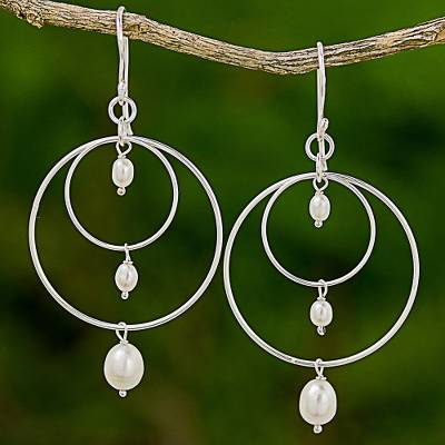 Cultured pearl dangle earrings, 'Moonlight Ripples' - Sterling Silver Cultured Pearl Dangle Earrings from Thailand