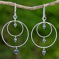 Cultured pearl dangle earrings, 'Lake Ripples' - Sterling Silver Dyed Pearl Dangle Earrings from Thailand