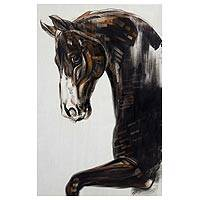 'Brown Horse' (2015) - Original Painting of Horse in Acrylics and Pastel