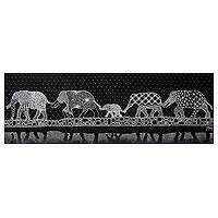 'Elephant Family' - Black and White Acrylic Painting of Elephants on Canvas