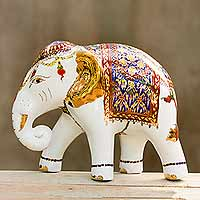 Benjarong porcelain statuette, 'Elegant Elephant' - Porcelain Thai Elephant Statuette with Gold and Enamel