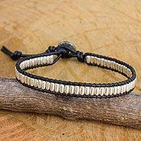 Silver and leather beaded cord bracelet, 'Matte Chic' - Hand Crafted Silver Bead and Leather Cord Bracelet