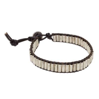 Silver and Leather Beaded Cord Bracelet from Thailand