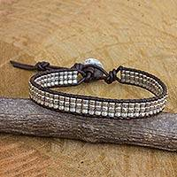 Silver and leather beaded cord bracelet, 'Karen Folk' - Hand Crafted Engraved Silver Bead and Leather Bracelet