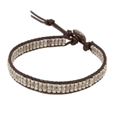 Hand Crafted Engraved Silver Bead and Leather Bracelet