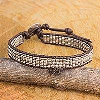 Silver and leather beaded cord bracelet, 'Karen Spiral' - Hand Crafted Silver and Brown Leather Beaded Bracelet