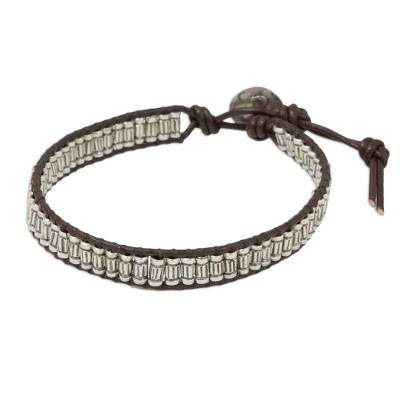 Artisan Crafted Silver and Leather Beaded Cord Bracelet