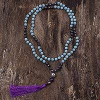Amazonite and hematite long prayer bead necklace,