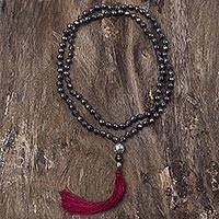 Hematite and smoky quartz long prayer bead necklace, 'Spirit Quest' - Hand Knotted Hematite Thai Prayer Bead Necklace Smoky Quartz