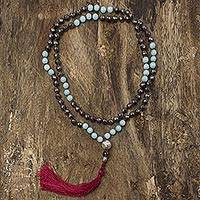 Multi-gemstone long prayer bead necklace, 'Spirit Quest' - Hematite Prayer Bead Necklace with Amazonite & Smoky Quartz