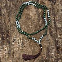 Quartz and amazonite long prayer bead necklace, 'Spirit Quest' - Green Quartz Beaded Necklace with Amazonite & Smoky Quartz