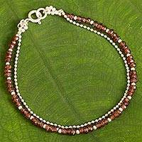 Garnet beaded bracelet, 'Everlasting in Crimson' - Garnet Beaded Bracelet with High Polish Sterling Silver