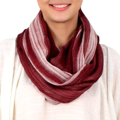Cotton infinity scarf, 'Burgundy Horizon' - Hand Woven 100% Cotton Infinity Scarf from Thailand