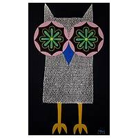 'Fantasy Owl II' - Original Signed Thai Stretched Painting of Owl in Acrylics