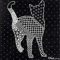 'Happy Cat' - Signed Black and White Acrylic Painting of Cat from Thailand