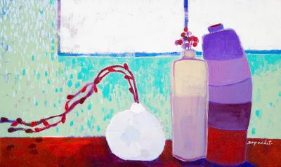 'On the Red Table' - Original Acrylic Still Life Painting on Canvas from Thailand