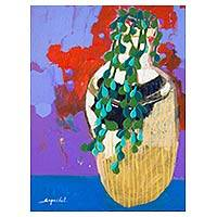 'Green Vine' - Original Thai Fine Art Still Life Painting