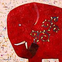 'Yellow Blooming' - Red Elephant Original Signed Thai Naif Painting
