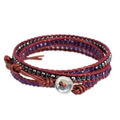 Thai Dyed Leather Amethyst Hematite Silver Wrap Bracelet