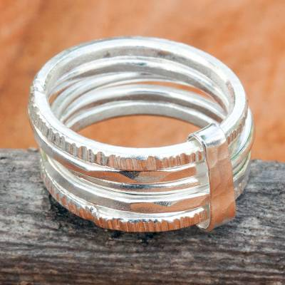 Five Linked Hand Crafted Hill Tribe Silver Band Rings