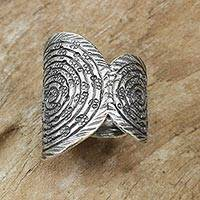 Sterling silver cocktail ring, 'Karen Garden' - Artisan Crafted Sterling Silver Ring with Spiral Motifs