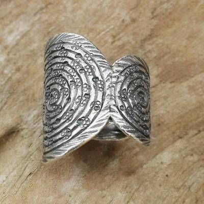 Artisan Crafted Sterling Silver Ring with Spiral Motifs