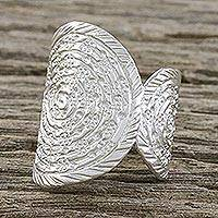 Sterling silver cocktail ring,  'Shining Karen Garden' - Sterling Silver Thai Cocktail Ring with Spiral Motifs