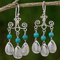 Sterling silver chandelier earrings, 'Blue-Green Sky' - Sterling Silver Calcite Chandelier Earrings from Thailand