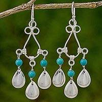 Calcite chandelier earrings, 'River Drops' - Blue Calcite Sterling Silver Chandelier Earrings Thailand
