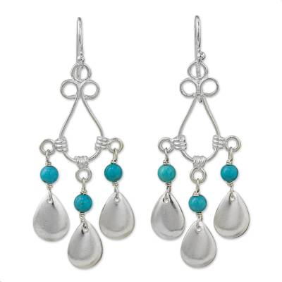 Blue Calcite Sterling Silver Chandelier Earrings Thailand