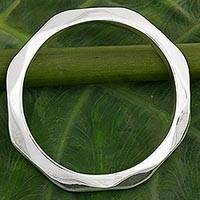 Sterling silver bangle bracelet, 'Sleek Beauty' - Sterling Silver Hexagonal Bangle Bracelet from Thailand