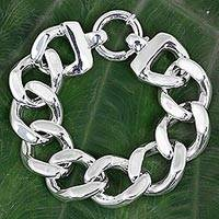 Sterling silver chain bracelet, 'Shining Links' - Sterling Silver Cuban Link Chain Bracelet from Thailand