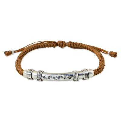 Unique Brown Macrame Bracelet with Sterling Silver Infinity Pendant
