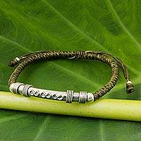Sterling silver pendant bracelet, 'Infinite Legend in Olive' - Sterling Silver Accent Bracelet from Thailand