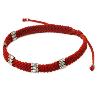 Fair Trade Thai Hill Tribe Silver Beaded Red Macrame Friendship Bracelet