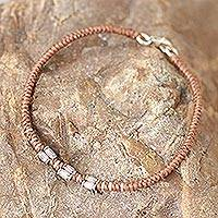 Silver accent wristband bracelet, 'Bamboo Bracelet in Tan' - 950 Silver Accent Wristband Bracelet from Thailand