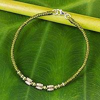 Featured review for Silver accent wristband bracelet, Bamboo Bracelet in Olive