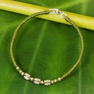 Silver accent wristband bracelet, 'Bamboo Bracelet in Olive' - 950 Silver Accent Wristband Bracelet from Thailand