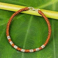 Silver accent wristband bracelet, 'Happy Flower in Rust' - 950 Silver Accent Wristband Bracelet from Thailand