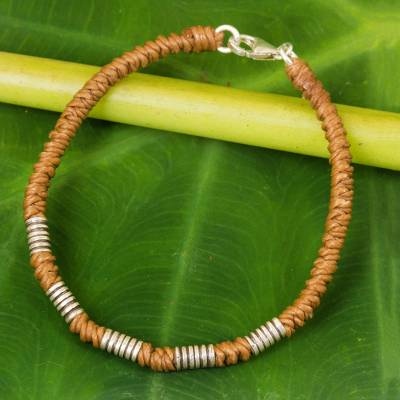Silver accent wristband bracelet, 'Thai Sabai in Caramel' - Sterling Silver Braided Wristband Bracelet from Thailand