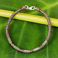 Silver accent wristband bracelet, 'Beautiful Jungle in Taupe' - Sterling Silver Wristband Braided Bracelet from Thailand