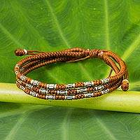 Silver accent wristband bracelet, Forest Thicket in Rust