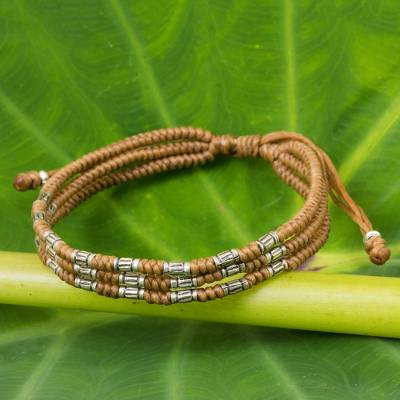 Silver accent wristband bracelet, 'Forest Thicket in Tan' - 950 Silver Accent Wristband Braided Bracelet from Thailand