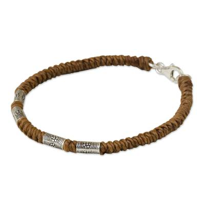 950 Silver Accent Wristband Braided Bracelet from Thailand
